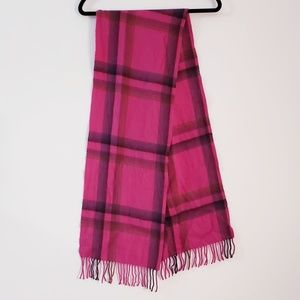 Saks Fifth Ave Purple Plaid 100% cashmere Scarf